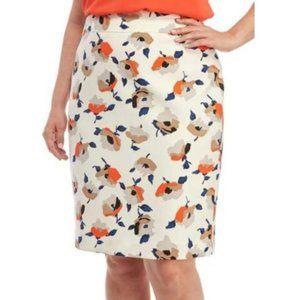 NWT Nine West White Floral Tangerine Pencil Skirt